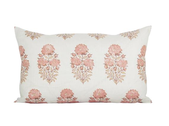 Mughal Flower Coral Pillow Cover