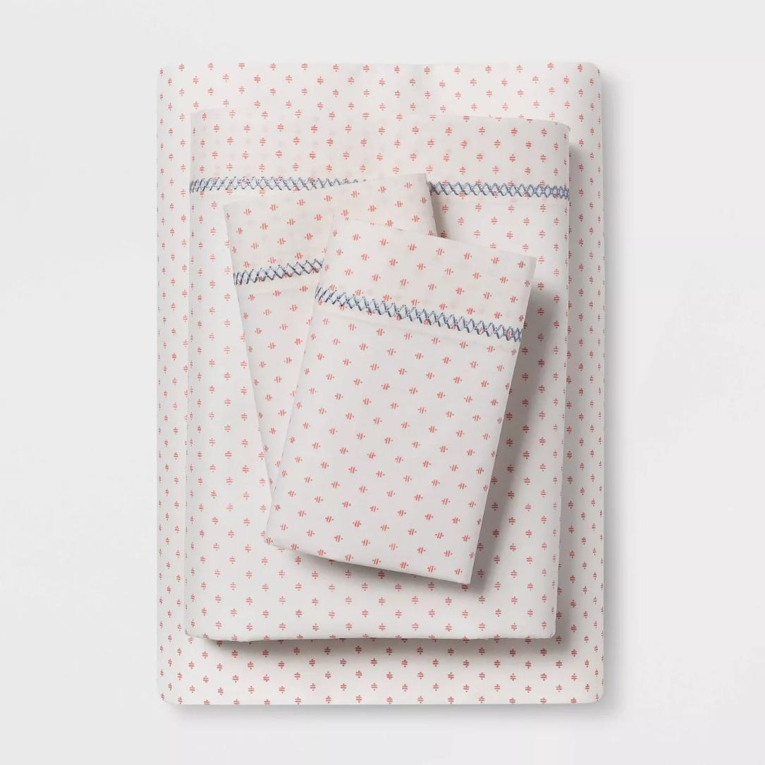 Printed Cotton Percale Sheet Set - Coral