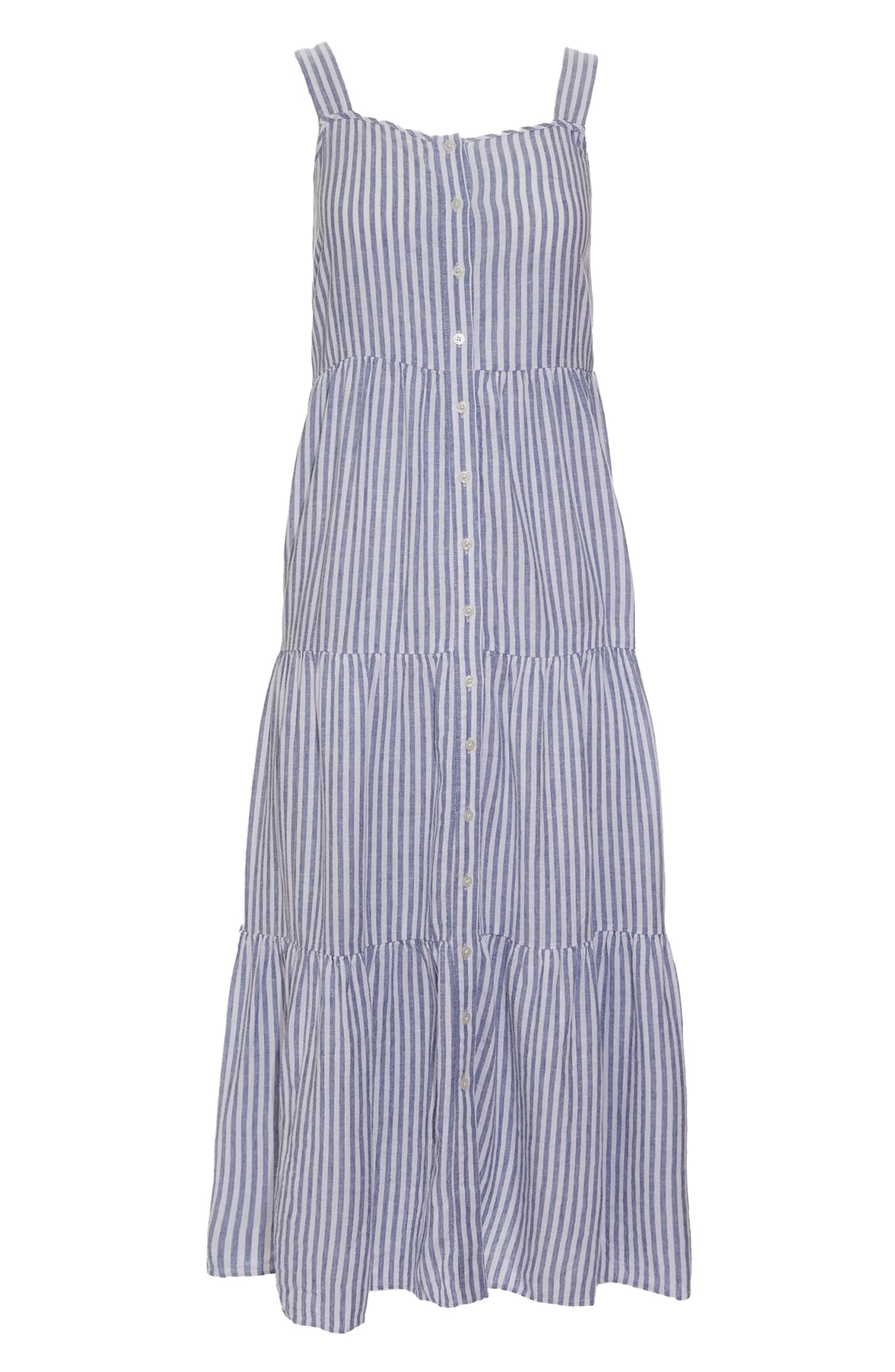 Stripe Button Front Tiered Midi Dress