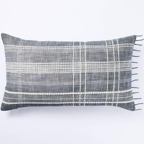 Woven Plaid Pillow Blue